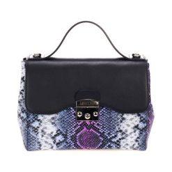 Torebki klasyczne damskie: Skórzana torebka w kolorze czarno-niebieskim – (S)28 x (W)29 x (G)15 cm