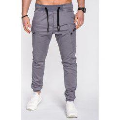 SPODNIE MĘSKIE JOGGERY P474 - SZARE. Szare joggery męskie Ombre Clothing, z bawełny. Za 89,00 zł.