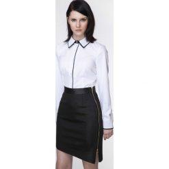Spódniczki: Asymetryczna Czarna Spódnica z Dwubiegunowym Suwakiem z Dodatkiem Eko-skóry
