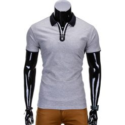 KOSZULKA MĘSKA POLO BEZ NADRUKU S664 - SZARA. Czarne koszulki polo marki Ombre Clothing, m, z bawełny, z kapturem. Za 35,00 zł.