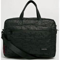 Diesel - Torba na latopa. Czarne torby na laptopa Diesel, w paski, z materiału. Za 469,90 zł.