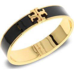 Bransoletka TORY BURCH - Enameled Raised-Logo Hinged Bracelet 41872 Black/Tory Gold 010. Czarne bransoletki damskie na nogę Tory Burch, metalowe. Za 639,00 zł.