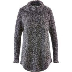 Sweter poncho, długi rękaw bonprix antracytowy melanż. Szare swetry klasyczne damskie bonprix. Za 89,99 zł.