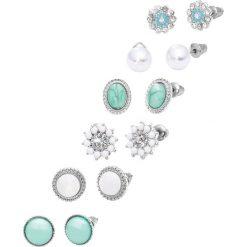 Kolczyki damskie: Kolczyki wkrętki (12 części) bonprix srebrny kolor – turkusowy