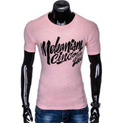 T-SHIRT MĘSKI Z NADRUKIEM S955 - RÓŻOWY. Czerwone t-shirty męskie z nadrukiem marki Ombre Clothing, m. Za 29,00 zł.