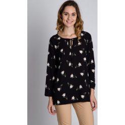 Bluzki asymetryczne: Czarna bluzka w białe kwiaty BIALCON