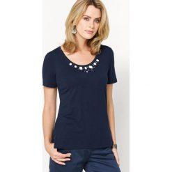 Koszulka z klejnocikami. Szare bluzki wizytowe Anne weyburn, z dżerseju, z okrągłym kołnierzem. Za 111,68 zł.