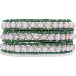 Bransoletki damskie: Skórzana bransoletka w kolorze zielonym z hodowlanymi perłami słodkowodnymi