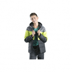 Kurtka chłopięca zimowa z kieszeniami, rozpinana, z polarem. Szare kurtki chłopięce przeciwdeszczowe TXM, na zimę, z polaru. Za 29,99 zł.