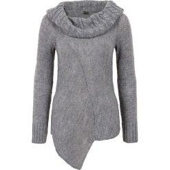 Swetry klasyczne damskie: Asymetryczny sweter dzianinowy bonprix szary melanż