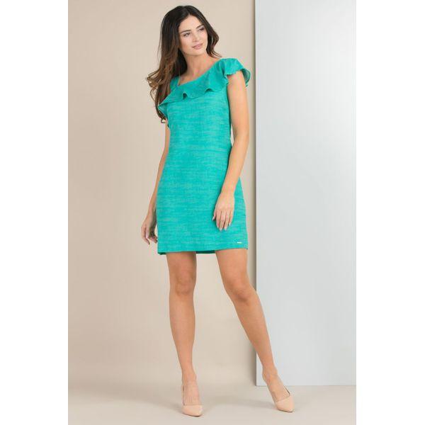 5d4d6f6c37 Sukienka z asymetrycznym karczkiem - Szare sukienki damskie Monnari ...