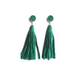 Kolczyki skórzane zamszowe szmaragdowe. Zielone kolczyki damskie Mikashka, metalowe, na sztyftcie. Za 49,00 zł.