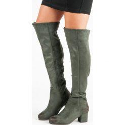 MUSZKIETERKI NA OBCASIE VINCEZA. Zielone buty zimowe damskie marki Vinceza, na obcasie. Za 179,00 zł.