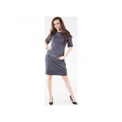 Sukienka z dresówki z poziomym zamkiem SL2163G. Czarne sukienki balowe marki Soleil, na imprezę, s, w kolorowe wzory, z bawełny, z długim rękawem, mini, dopasowane. Za 129,00 zł.