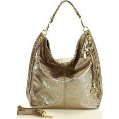 Skóra naturalna torebka worek Isabella złoty brąz. Żółte torebki worki MAZZINI, ze skóry. Za 279,90 zł.