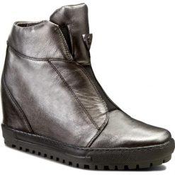 Sneakersy EKSBUT - 66-4318-E04-1G Czarny/Srebro. Szare sneakersy damskie Eksbut, ze skóry. W wyprzedaży za 259,00 zł.