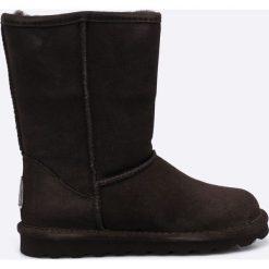 Bearpaw - Botki Elle Short. Szare botki damskie na obcasie marki EMU Australia, z materiału, z okrągłym noskiem, na wysokim obcasie. W wyprzedaży za 239,90 zł.