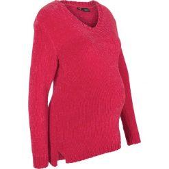 Sweter ciążowy z szenili bonprix ciemnoczerwony. Czerwone swetry klasyczne damskie bonprix, na zimę, moda ciążowa. Za 79,99 zł.