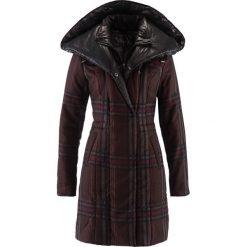 Płaszcz pikowany bonprix ciemnobrązowy w kratę. Brązowe płaszcze damskie bonprix. Za 109,99 zł.