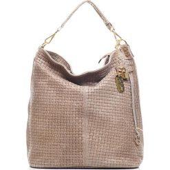 Torebki klasyczne damskie: Skórzana torebka w kolorze szarobrązowym – 42 x 38 x 17 cm