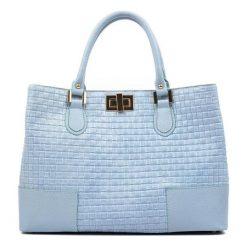 Torebki klasyczne damskie: Skórzana torebka w kolorze niebieskim – (S)27 x (W)38 x (G)15 cm