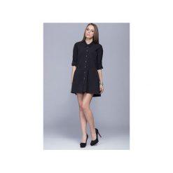 Luźna sukienka z asymetrycznym dołem czarna  H005. Czarne sukienki asymetryczne marki Harmony, na co dzień, xl, z materiału, z asymetrycznym kołnierzem, mini. Za 199,00 zł.