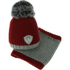 Czapka dziecięca z kominkiem CZ+k 046A bordowo-szara r. 46-48. Czerwone czapeczki niemowlęce marki Proman. Za 62,00 zł.