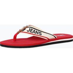 Tommy Jeans - Damskie japonki z dodatkiem skóry, czerwony. Czerwone crocsy damskie marki Tommy Jeans, z jeansu. Za 119,95 zł.