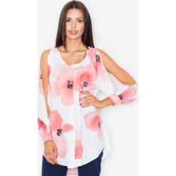 Bluzki damskie: Bluzka Koszulowa z Rozciętymi Rękawami w Odcieniach Różu