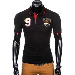 KOSZULKA MĘSKA POLO Z NADRUKIEM S908 - CZARNA. Czarne koszulki polo marki Ombre Clothing, m, z bawełny, z kapturem. Za 59,00 zł.