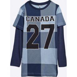 Name it - T-shirt dziecięcy 110-164 cm. Szare t-shirty chłopięce z długim rękawem Name it, z nadrukiem, z bawełny, z okrągłym kołnierzem. W wyprzedaży za 19,90 zł.