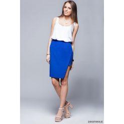 Spódnice wieczorowe: Asymetryczna elegancka spódnica-niebieska H018