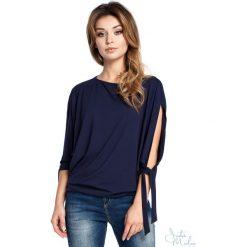 Bluzka rozcięte rękawy bee-036. Niebieskie bluzki asymetryczne BEE, m, z jeansu, z krótkim rękawem. Za 109,90 zł.