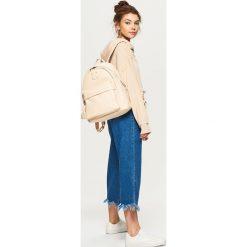 Plecaki damskie: Plecak z kontrastową podszewką - Kremowy