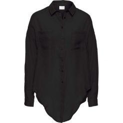 Bluzka z przewiązaniem bonprix czarny. Czarne bluzki asymetryczne bonprix, eleganckie, z klasycznym kołnierzykiem. Za 59,99 zł.