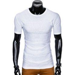 T-shirty męskie: T-SHIRT MĘSKI BEZ NADRUKU S962 - BIAŁY