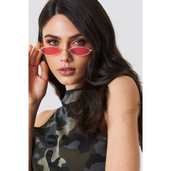 Okulary przeciwsłoneczne damskie: NA-KD Trend Owalne okulary przeciwsłoneczne retro - Red