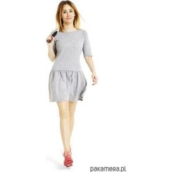 Sukienki: Sukienka z falbanką rozkloszowana jasnoszara