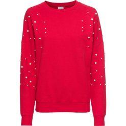 Bluza z perełkami bonprix czerwony. Czerwone bluzy damskie bonprix. Za 49,99 zł.
