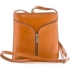 Torebki klasyczne damskie: Skórzana torebka w kolorze jasnobrązowym – 18 x 19 x 7 cm