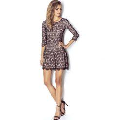 Sukienki: Szykowna Koronkowa Sukienka z Obniżonym Stanem