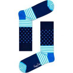 Happy Socks - Skarpety Stripes&Dots. Niebieskie skarpetki męskie Happy Socks, z bawełny. W wyprzedaży za 27,90 zł.
