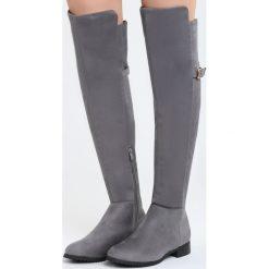 Szare Kozaki Bettie. Szare buty zimowe damskie marki Born2be, z okrągłym noskiem, na płaskiej podeszwie. Za 169,99 zł.