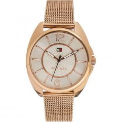 Zegarek kwarcowy w kolorze różowozłoto-srebrnym. Żółte, analogowe zegarki damskie TOMMY HILFIGER, srebrne. W wyprzedaży za 478,95 zł.