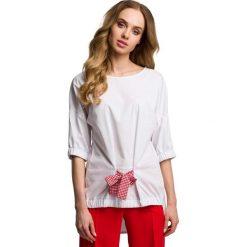 Oryginalna Oversizowa Bluzka z Wiązaniem - Czerwona Kokarda. Czerwone bluzki nietoperze Molly.pl, l, w kratkę, z tkaniny, z kokardą. Za 94,90 zł.