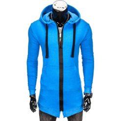 Bluzy męskie: BLUZA MĘSKA ROZPINANA Z KAPTUREM B763 – NIEBIESKA