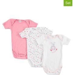 Body niemowlęce: Body (3 szt.) w kolorze jasnoróżowym i białym