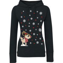 Bluzy rozpinane damskie: Snowflake Deer Bluza z kapturem damska czarny