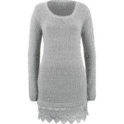 Długi sweter z koronką, długi rękaw bonprix srebrny metaliczny. Szare swetry klasyczne damskie bonprix, z koronki. Za 129,99 zł.