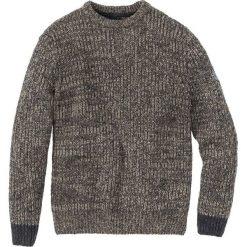 Sweter z okrągłym dekoltem Regular Fit bonprix beżowo-antracytowy melanż. Brązowe swetry klasyczne męskie marki bonprix, m, melanż, z dzianiny, z kontrastowym kołnierzykiem. Za 74,99 zł.